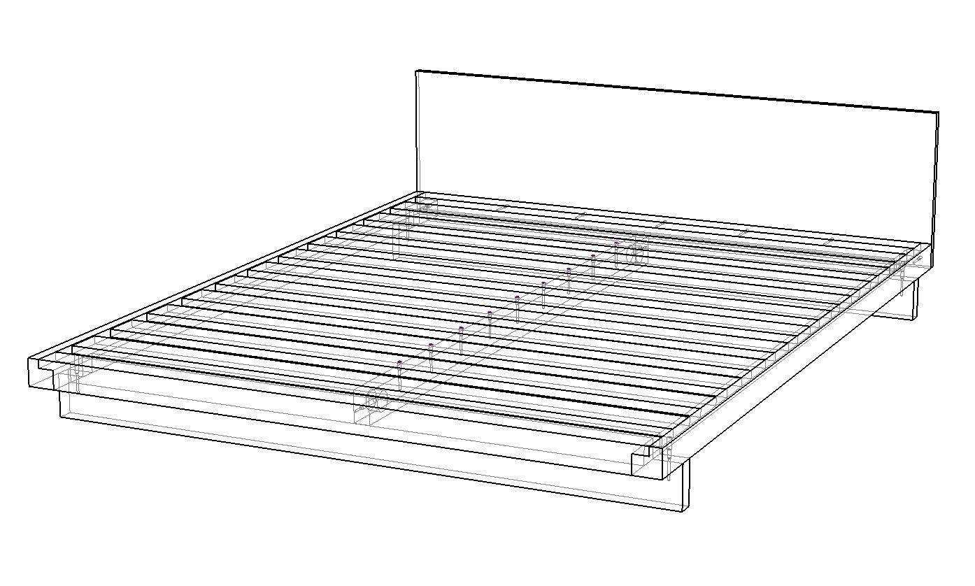 Кровать из массива натурального дерева Кумо